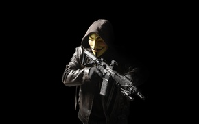 Picture weapons, male, hood, jacket, mask, assault rifle