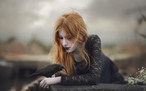Wallpaper girl, mood, bird