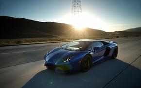 Picture car, lamborghini, blue, aventador