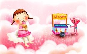 Picture clouds, joy, fantasy, figure, ice cream, girl, braids, truck, animal