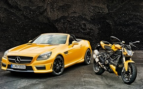 Picture yellow, Mercedes-Benz, convertible, Mercedes, AMG, ducati, AMG, R172, SLK-Class