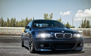 Picture BMW, tuning, lights, the front, tuning, the sky, blue, BMW, E46