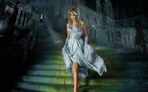 Picture fantasy, shoe, foot, cinderella, ladder