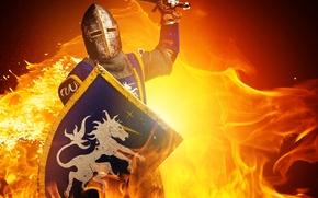 Wallpaper fire, fire, shield, knight, shield, knight