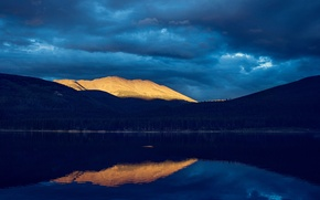 Picture forest, the sun, light, mountains, clouds, lake, reflection, hills, the evening