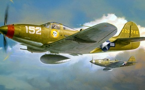 Picture figure, art, UNITED STATES AIR FORCE, Bell, Airacobra, P-39Q, American fighter