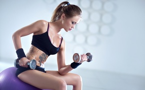 Picture blonde, workout, fitness, dumbbells