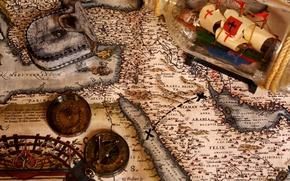Picture bottle, map, sailboat, treasure, treasures, adventure, compass, case