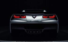 Picture Corvette, Chevrolet, white, rear, roadster, Stingray