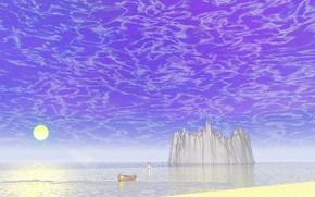 Picture sand, sea, the sky, boat, fantasy, crater, elf
