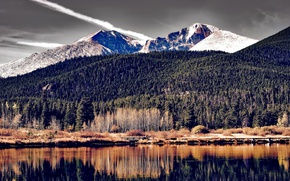 Picture USA, forest, autumn, river, shore, trees, Colorado, mountains