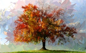 Wallpaper tree, color, figure, abstraction