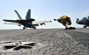 Wallpaper fighter, the carrier, deck, the rise, f-18