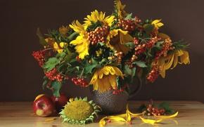 Wallpaper sunflower, Apple, still life, August, Kalina, bouquet