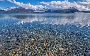 Picture mountains, stones, paint, Canada, Yukon territory, lake Clean