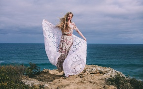 Picture girl, the wind, hair, dress