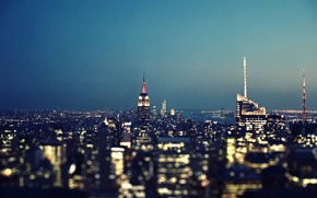 Wallpaper lights, United States, night, New York, Manhattan, skyscrapers, blue hour, cityscape, Gotham, Empire States Building, ...