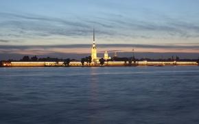 Wallpaper the city, river, Wallpaper, The evening, Peter, Saint Petersburg, wallpaper, Peter and Paul fortress, Russia, ...