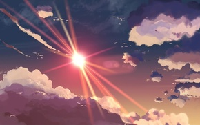 Wallpaper figure, rays, heaven, the sun, the sky, clouds