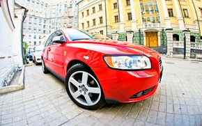 Picture machine, red, volvo, s40, Volvo