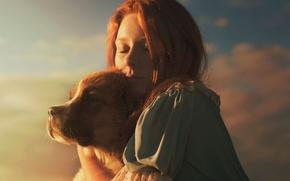 Picture girl, dog, sunlight