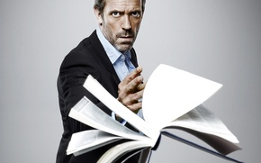 Wallpaper book, house, Dr. house, Hugh Laurie