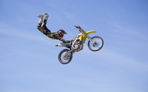 Picture maneuver, rider, motocross, freestyle, sky, clouds, FMX, extreme sports, Superman Double Seat Grab