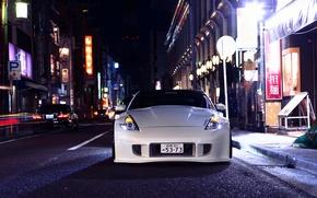 Picture Nissan, white, front, 370z, stance, vossen wheels