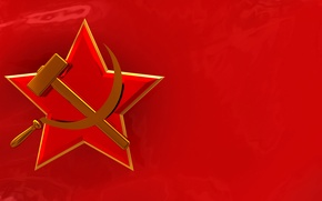 Wallpaper red, flag, symbol, USSR, the hammer and sickle