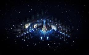 Wallpaper winter, night, lights, holiday, toys, tree, new year, snowmen, elegant