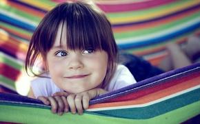 Picture joy, smile, strip, mood, colored, child, hammock, girl