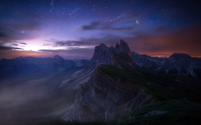 Picture mountains, rocks, the moon, horizon, art, Italy, the Dolomites
