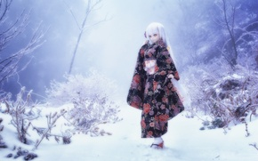 Picture toy, snow, doll, winter, blonde, nature
