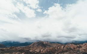Picture desert, mountains, clouds, rocks