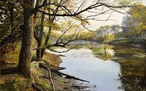 Picture forest, water, trees, landscape, branches, nature, lake, picture, painting, canvas, Lutsenko, the remains of luxury