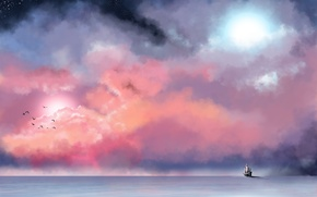 Picture sea, the sky, stars, clouds, birds, fog, ship, painting