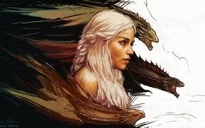 Wallpaper Game of thrones, Daenerys Targaryen, art, mother of dragons, Game of thrones