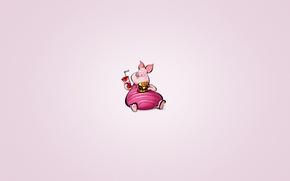 Wallpaper minimalism, pig, animal, Piglet, Winnie-the-Pooh, drink, Winnie The Pooh, hamburger, lemonade, chubby