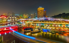 Picture night, lights, river, bright, home, boats, Singapore, illumination, piers, Clarke Quay