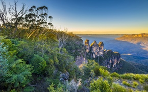 Picture the sky, sunset, mountains, plants, valley, horizon, Australia, haze, New South Wales, The Blue Mountains