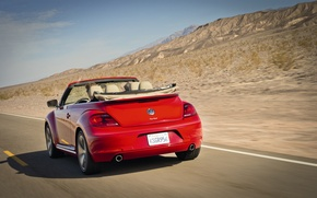 Picture road, mountains, red, markup, speed, beetle, convertible, car, Convertible, Volkswagen Beetle