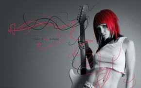 Picture girl, guitar, the love of music