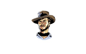 Picture face, minimalism, Clint Eastwood, Clint Eastwood