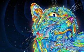 Wallpaper mustache, swirls, color, cat