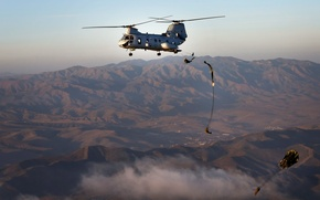 Picture flight, mountains, soldiers, helicopter, jumping, military transport, landing, heavy, parachutes, Boeing CH-47 Chinook, Boeing CH-47 …