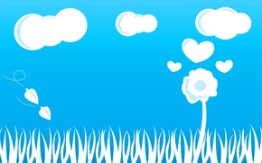 Picture flower, the sky, grass, clouds, heart, heart