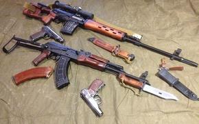 Picture gun, SVD, Kalashnikov Modernized, AKMS, APS, Sniper rifle, Soviet weapon, Bayonet, PM