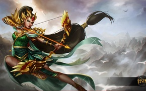 Picture girl, bow, Archer, art, hon, arrows, Heroes of Newerth, Artillery, Srikandi Artillery
