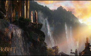 Picture forest, sunset, open, elf, waterfall, sunset, elf, Rivendell, Rivendell, the wizard, elven castle, waterfalls, elven …