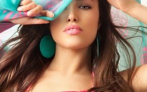 Picture eyes, look, model, earrings, lips, shawl